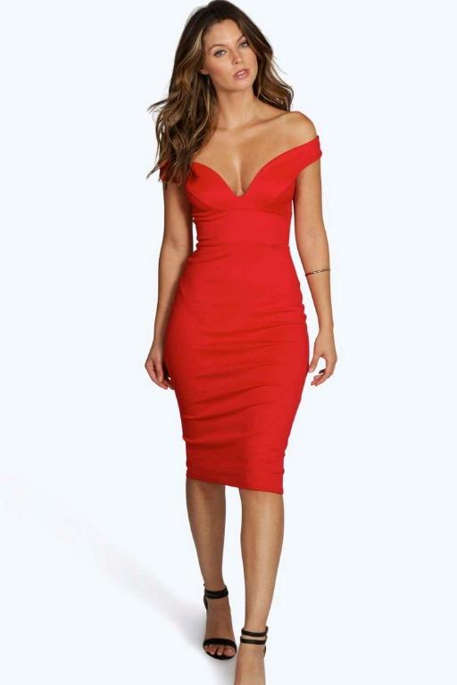 Red Sweetheart Off Shoulder Bodycon Formal Midi Dress 6 / XS