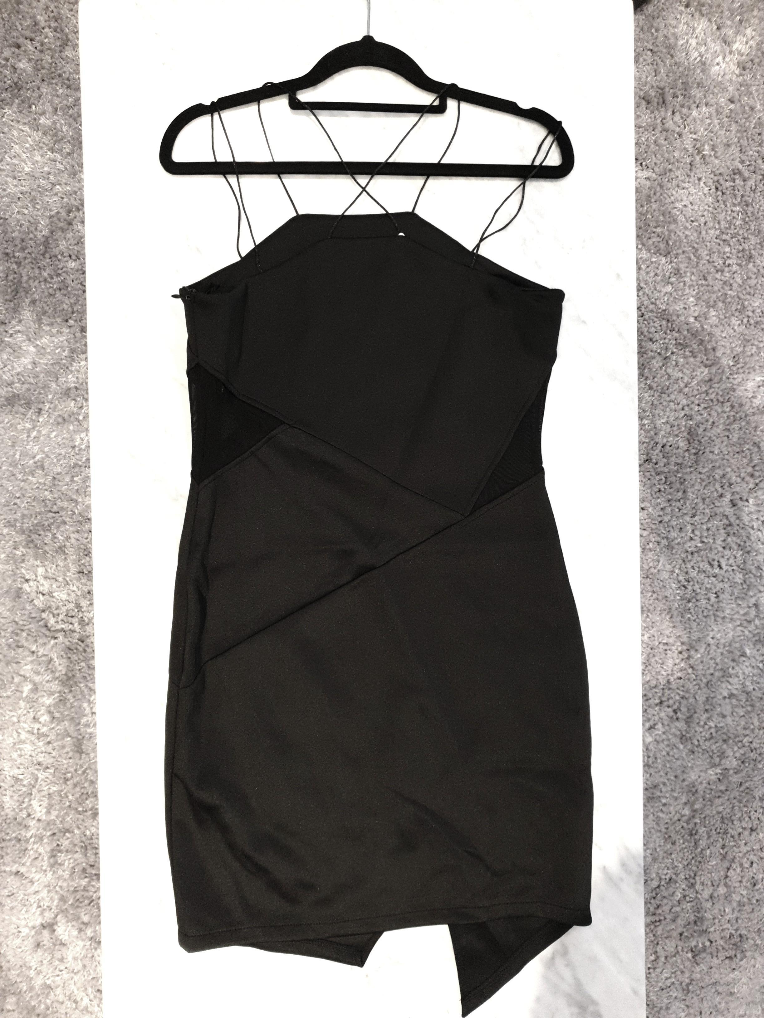 [SIZES UK: 12] Black A-symmetrical Spaghetti Strap Dress