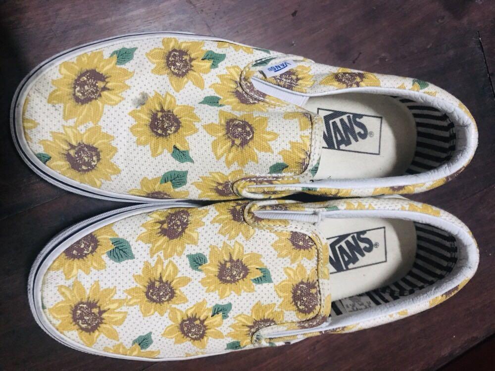 VANS SUNFLOWER, Women's Fashion, Shoes