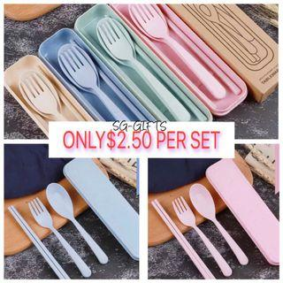 Travel Size Cutlery With Box Set Cheapest in Carousell Wheat Japanese Style Corporate Gift
