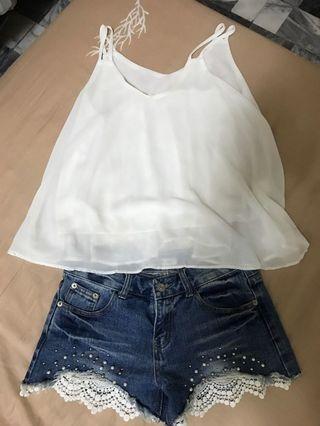 🚚 雪紡上衣+短褲(整套賣)