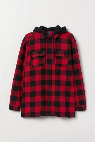 🚚 H&M Red Hooded Flannel Hoodie