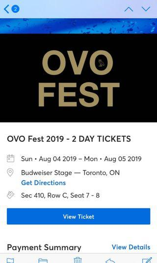 Pair of OVO 2 day seated tickets