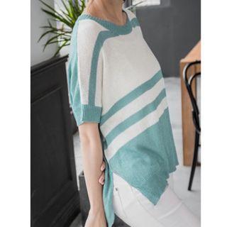 OB綠條紋飛鼠袖針織上衣
