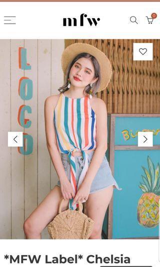 MFW Label Chelsia Rainbow Stripe Top Size M