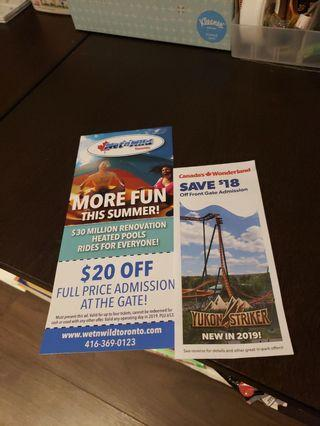 Canada's Wonderland, Wet n Wild coupons 20 dollars for both coupons!!