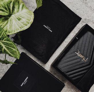 YSL Saint Laurent Large Black Monogramme Wallet On Chain WOC