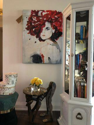 Cabinet, wood side table, and painting