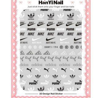 BNIP Puma Adidas Nike Black and white brand logo nail stickers nail art nail decal