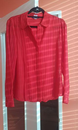Red Chiffon Vintage Tommy Hilfiger Blouse