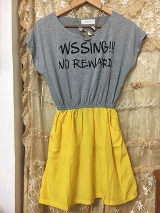 🆕全新灰色搭黃色連身裙 Dress