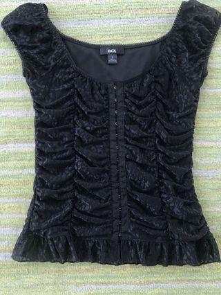 Brand New BCX Black Frill Lace Layered Trim Top