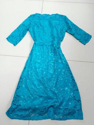 3/4 sleeves blue lace dress