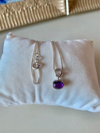 Italian 925 sterling silver necklace with amethyst pendant