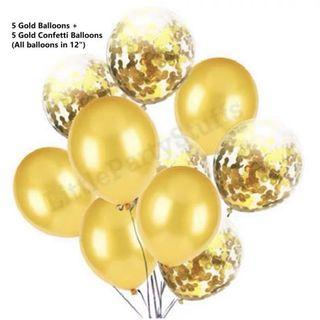 Confetti Balloons Of 10pcs (Gold)