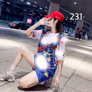 全新韓款冰絲涼涼的可愛米奇系列連身裙L碼