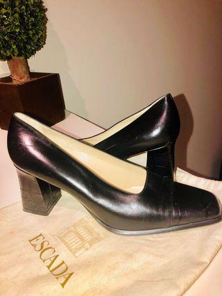 Ultra Classic Escada Black & Pewter  Square Toe Courts with Angled Block Heels