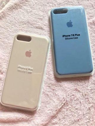 APPLE SILICONE CASE PINK BLUE BIRU IPHONE7+/8+ 7+ 8+