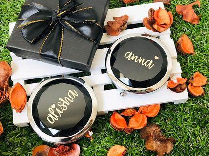 Personalised Gem Mirror for Travel Make Up Bag Compact Gift for Teacher's Day Farewell Birthday Anniversary Gift Bridesmaid