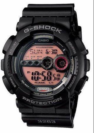 卡西歐Casio G-shock 3262. 全黑 黑橘錶面