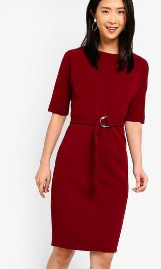 BNIB Zalora Dark Red Pencil Dress