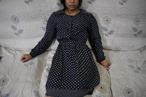 Dark Blue Flower Pattern Dress