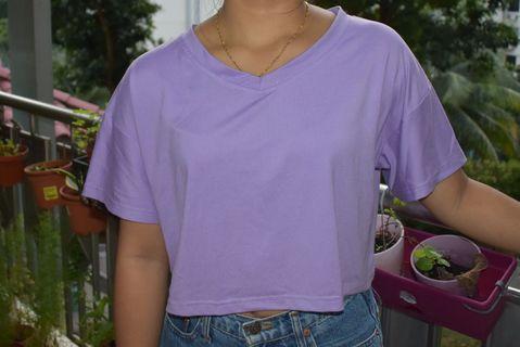 Purple V-Neck Crop Top