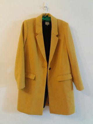 Zara 大地色 黃 羊毛大衣