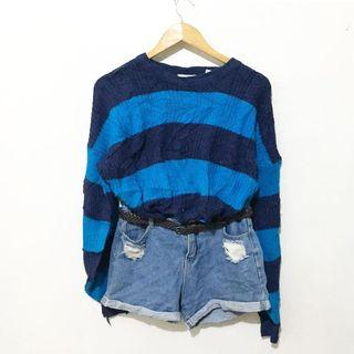 BUY1 TAKE1 - Blue stripes Over sized sweater