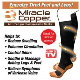 Relieve Symptoms of varicose veins and reduce stiffness. A pair Miracle Copper Anti-Fatigue Compression Socks. Usual:$19.90. Special:  $7.90.