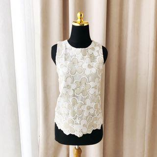 Zara Hnm Topshop style floral white gold top