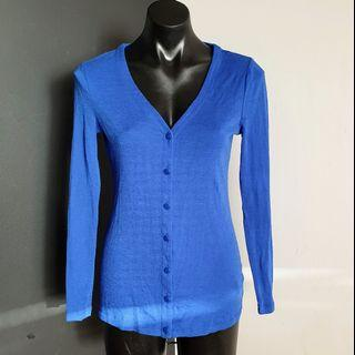 Women's size M 'PORTMANS' Gorgeous royal blue merino wool cardigan - AS NEW