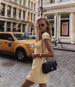 歐美 法式慵懶 度假風 檸檬黃碎花洋裝