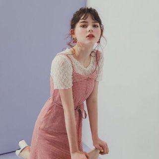 PAZZO 清新感配色格紋綁帶洋裝 M