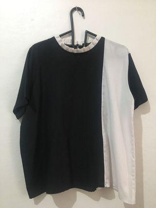 [SHOPATALEEN] - BLACK WHITE TOP