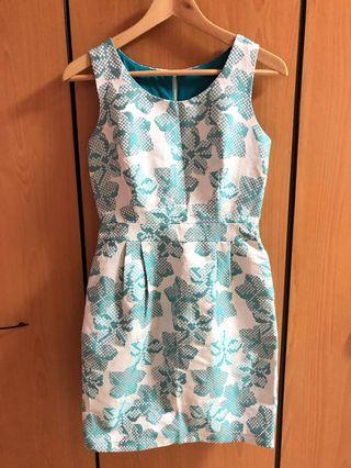 🚚 Bluish Green Floral Dress (S) with back zip, inner lining and side pockets