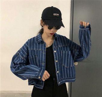 Striped Cropped Denim Jacket