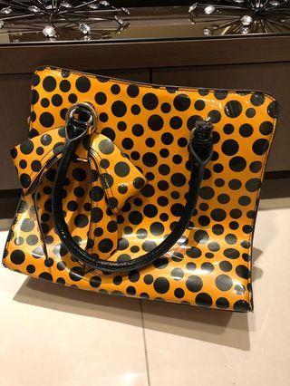 LV lookalike Lockit Handbag Monogram Vernis Kusama Infinity Dots MM