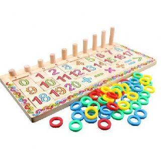 Two in one numbers and alphabet wooden log board (293)