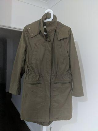 Waterproof olive green anorak jacket