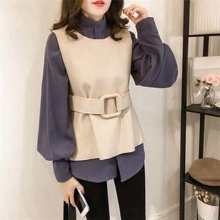 S M L XL 2 colours 2 pieces suit top shirt vest
