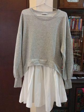 Soft grey white bottom oversized sweater