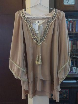 Cream beads party boho blouse