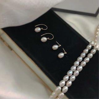 🚚 Freshwater Cultured Pearl Earrings in 14K Gold Finish
