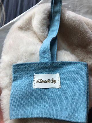 杯套 美美的淡藍色🐳 飲料袋 提袋