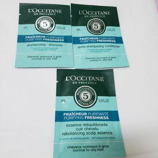 Loccitane Shampoo , Conditioner , Rrebalancing scalp essence