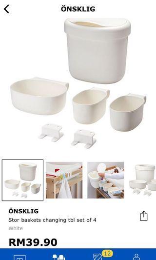 Ikea Onsklig changing table basket set of 4
