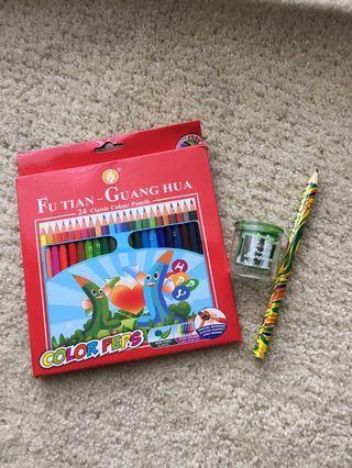 🚚 24 色彩色鉛筆、削鉛筆盒、1支大彩色鉛筆