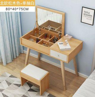 Dressing Table With Mirror Cosmetic Storage Cabinet Jewelry