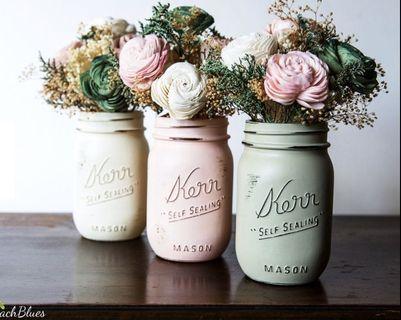 Set of 3 Painted & Distressed Mason Jars by BeachBlues on Etsy Shabby Chic Rustic Vase Home Decor